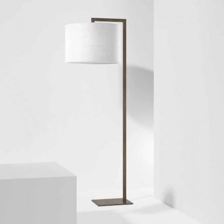 Metalen design vloerlamp met linnen lampenkap gemaakt in Italië - Bali