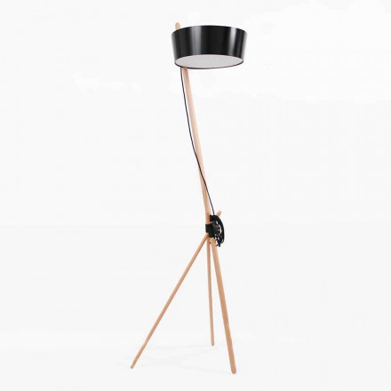 Staande lamp in hout en metaal met details in veganistisch leer - Avetta