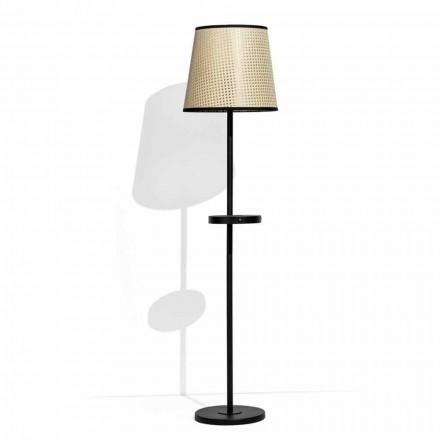 Staande lamp in zwart metaal en rotan met plank Made in Italy - Livia