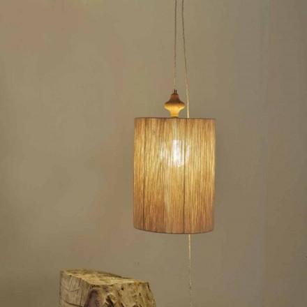 Vloer- / hanglamp in hout en zandkleur Bois wol