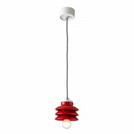 Design hanglamp in rood keramiek gemaakt in Italië Azië