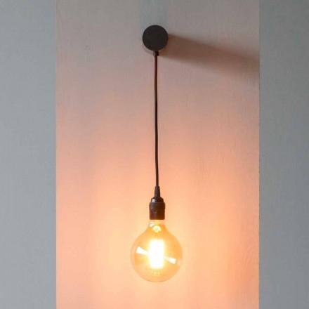 Designlamp in zwart ijzer met katoenen kabel Made in Italy - Cladia