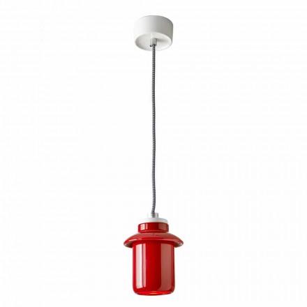 Designlamp opgehangen in rood keramiek gemaakt in Italië Azië