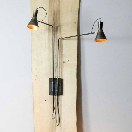 Dubbele wandlamp handgemaakt in ijzer en aluminium Made in Italy - Selina