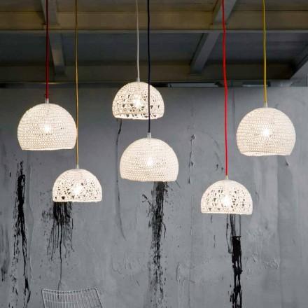 Lamp in katoen en viscose opgehangen In-es.artdesign Moderne textuur