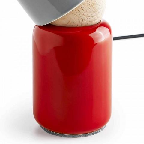 Moderne tafellamp gemaakt van keramiek en beukenhout gemaakt in Italië Azië