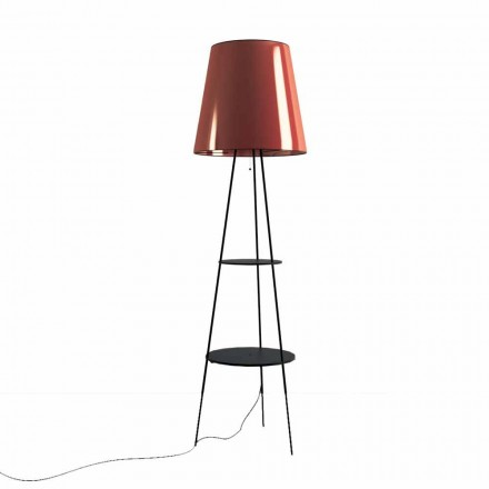 Staande lamp in zwart en koper metaal met USB-aansluiting Made in Italy - Dixie