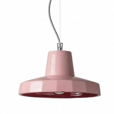 Hanglamp van 30 cm in messing en Toscaanse maiolica, Rossi Toscot