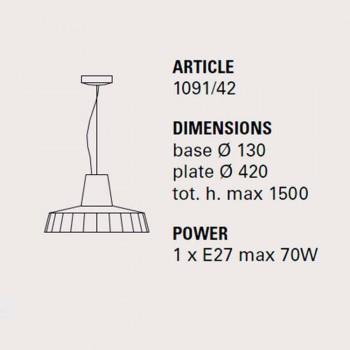 Hanglamp 42 cm in messing en Toscaanse majolica Rossi - Toscot