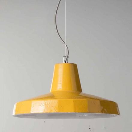 42cm hanglamp in messing en Toscaanse maiolica Rossi - Toscot