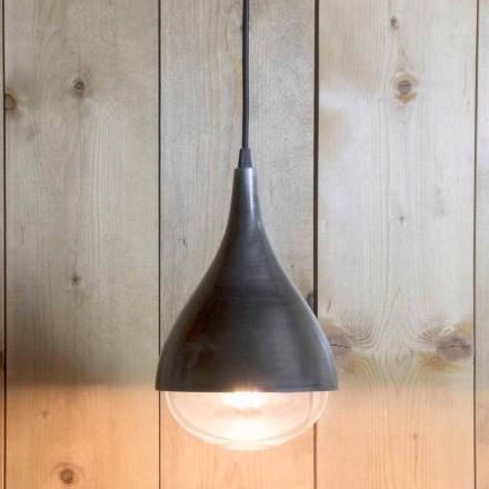 Handgemaakte hanglamp in aluminium en zwart katoen, gemaakt in Italië - Sissa