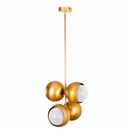 Handgemaakte hanglamp in natuurlijk messing en glas gemaakt in Italië - Gandia