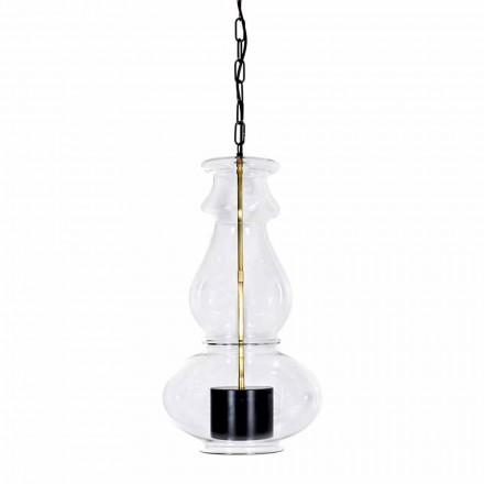Handgemaakte hangende lamp in geblazen glas en messing gemaakt in Italië - Vitrea