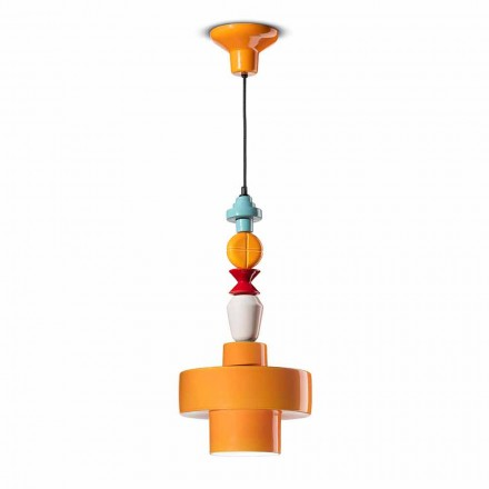 Hanglamp Geel of Groen Keramiek Made in Italy Design - Ferroluce Lariat