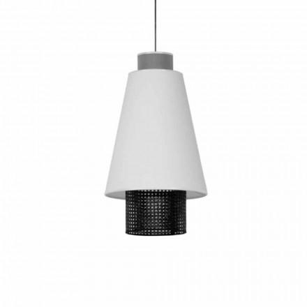 Hanglamp in modern design in stof en rotan Made in Italy - Sailor