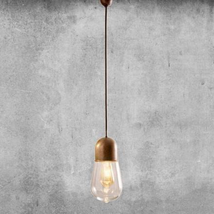 Vintage design hanglamp in messing en glas - Aldo Bernardi Guinguette