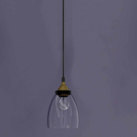 Design hanglamp in metaal en transparant glas Made in Italy - Clizia