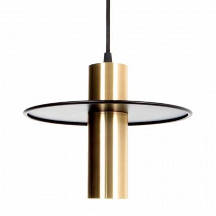 Handgemaakte hanglamp in ijzer en messing met LED Made in Italy - Astio