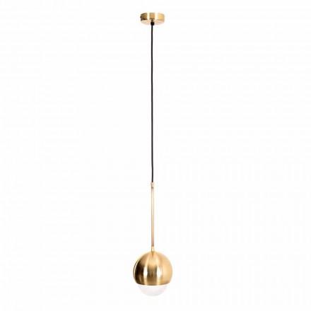Handgemaakte hanglamp van messing en decoratief glas gemaakt in Italië - Gandia