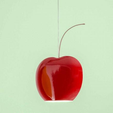 Zwevende keramische lamp in kers - fruit Aldo Bernardi