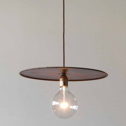 Hangende ijzeren lamp met artisanaal katoenen koord Made in Italy - Ufo