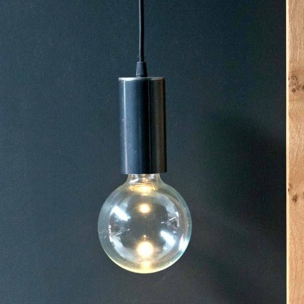Hanglamp in ijzer en glas met katoenen kabel Made in Italy - Ampolla