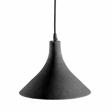 Hanglamp in antraciet steengoed en wit modern interieurdesign - Edmondo