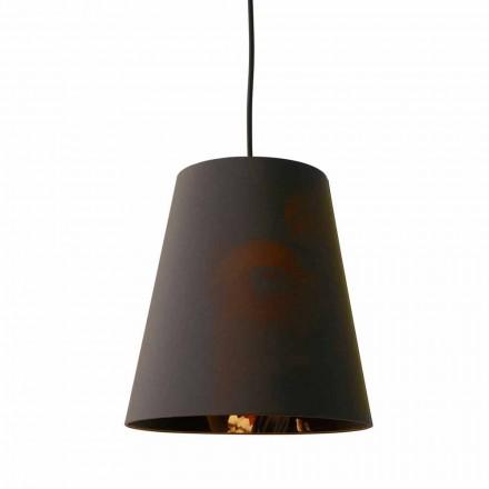 Hanglamp in antraciet linnen met interne ontwerpprint in 2 maten - Bramosia