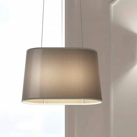 Hangende metalen lamp met lampenkap van net of linnen Made in Italy - Jump