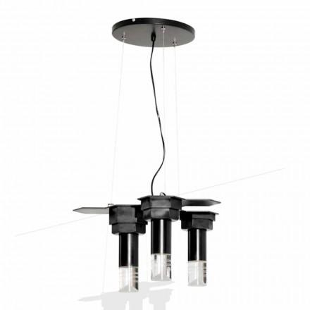 Moderne hanglamp in mat zwart metaal en plexiglas gemaakt in Italië - Dalbo