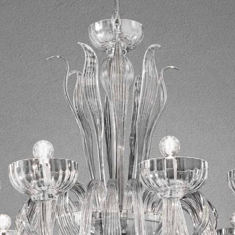 12 Lichte handgemaakte Venetiaanse glazen kroonluchter, gemaakt in Italië - Regina