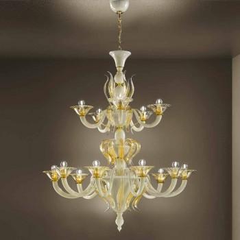 15 lichts kroonluchter in wit en goud Venetiaans glas, gemaakt in Italië - Agustina