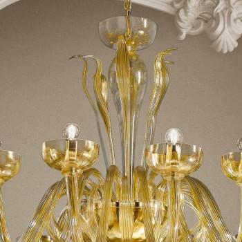 16 lichts kroonluchter in Venetiaans glas en goud, handgemaakt in Italië - Regina