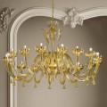 16 lichts Venetiaans glas en gouden kroonluchter, handgemaakt in Italië - Regina