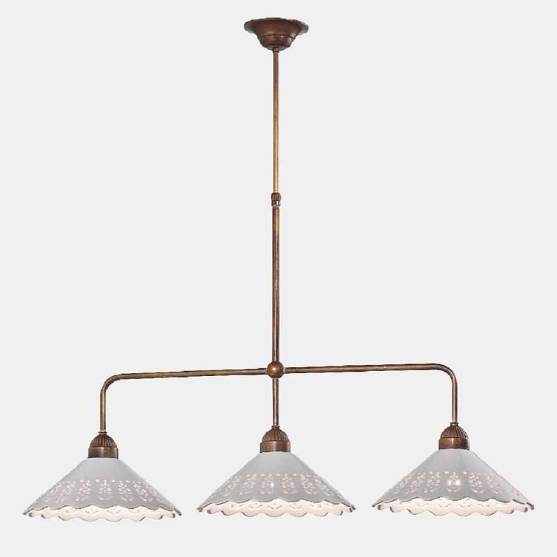 3-lichts kroonluchter in messing en geperforeerd keramiek - Fiordipizzo van Il Fanale