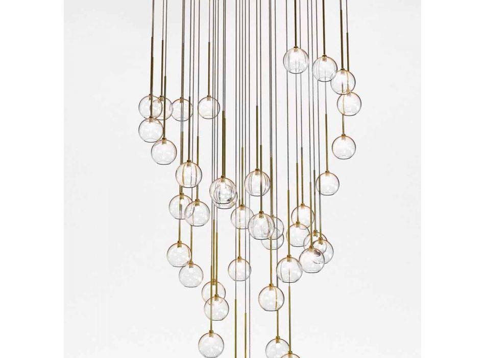40 lichts kroonluchter in gepolijst messing en glas gemaakt in Italië, luxe - Selene