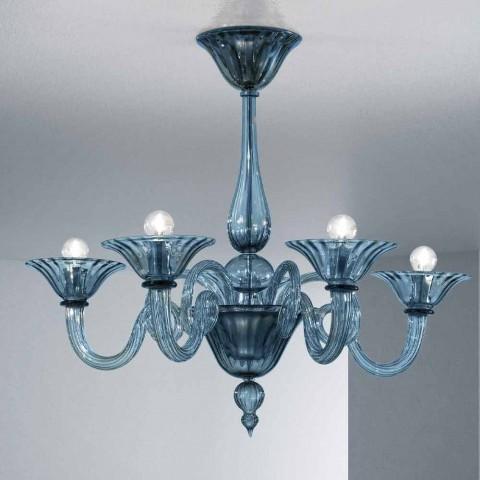 5 Lichts Artisan Glazen Kroonluchter uit Venetië, Made in Italy - Margherita