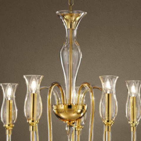 5 lichts kroonluchter handgemaakt in Italië in Venetiaans glas - Vittoria