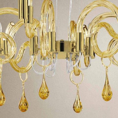 6 Lichte handgemaakte Venetiaanse glazen kroonluchter gemaakt in Italië - Bernadette