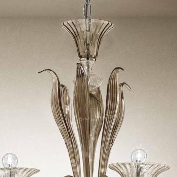 Ambachtelijke 6-lichts kroonluchter in gerookt Venetiaans glas gemaakt in Italië - Agustina