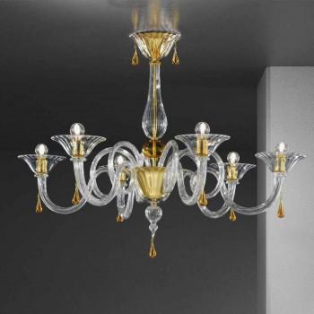 6 Lichte handgemaakte Venetiaanse glazen kroonluchter, gemaakt in Italië - Margherita