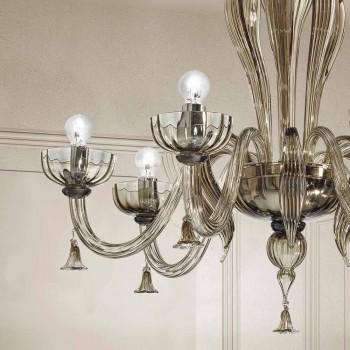 6 lichts Venetiaanse glazen kroonluchter, handgemaakt in Italië - Regina