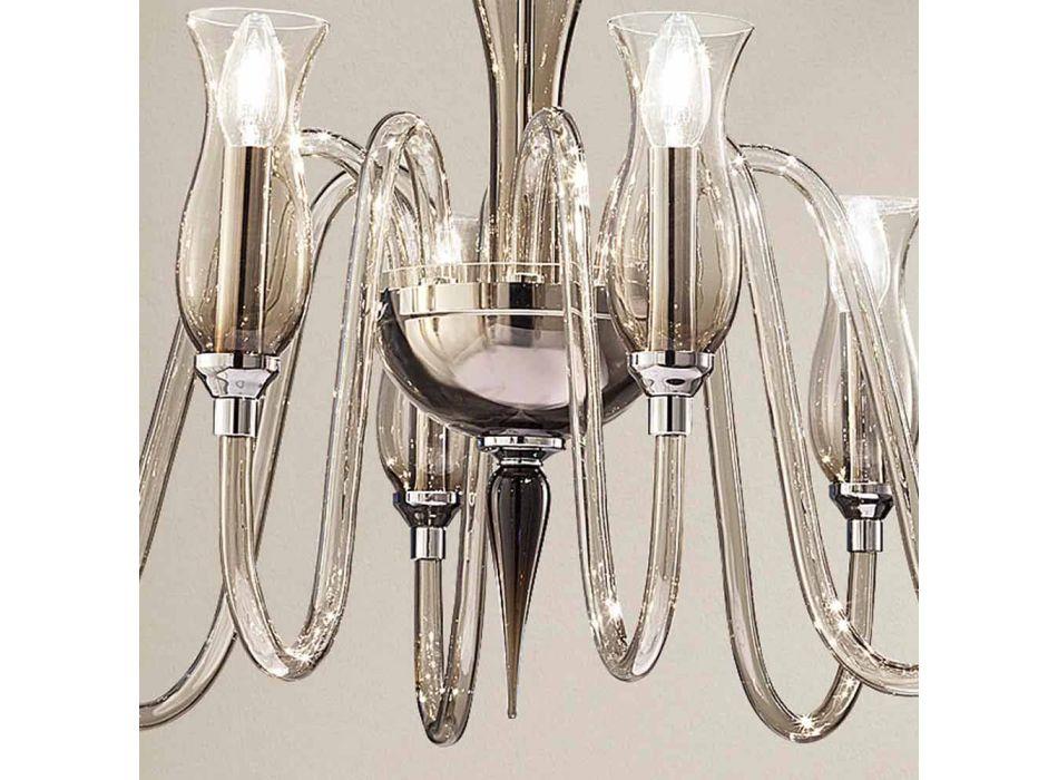 Ambachtelijke 8-lichts kroonluchter in gerookt Venetiaans glas gemaakt in Italië - Vittoria