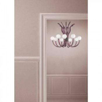 9 lichts amethist Venetiaanse glazen kroonluchter gemaakt in Italië - Antonietta