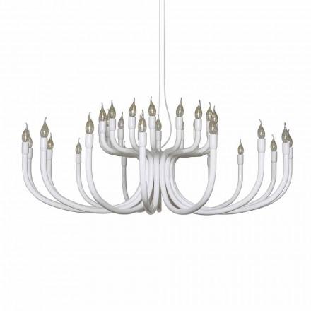 Hangende kroonluchter met 16 of 32 lampen in wit of zwart aluminium - Alviso