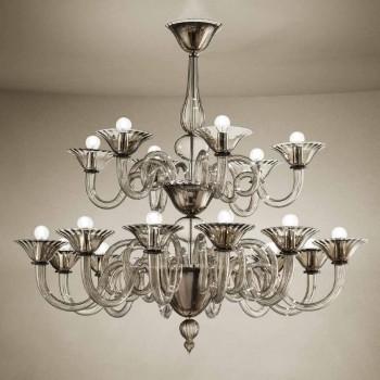 Ambachtelijke kroonluchter met 18 lichten in Venetië-glas, gemaakt in Italië - Margherita