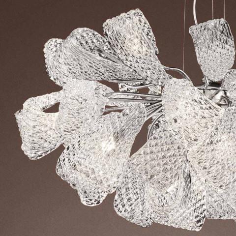 Ambachtelijke kroonluchter met 21 lampjes in Venetiaans glas, gemaakt in Italië - Diamonique