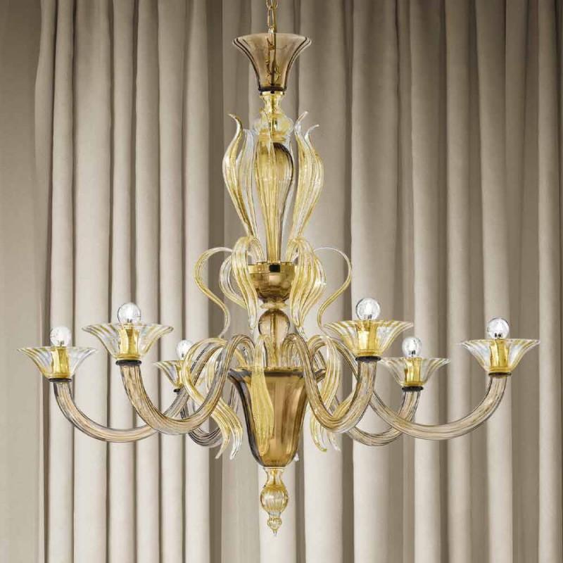 Artisan 6-lichts Venetiaanse glazen kroonluchter gemaakt in Italië - Agustina