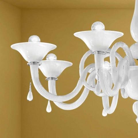 Artisan 8-lichts kroonluchter in Venetië-glas, gemaakt in Italië - Margherita