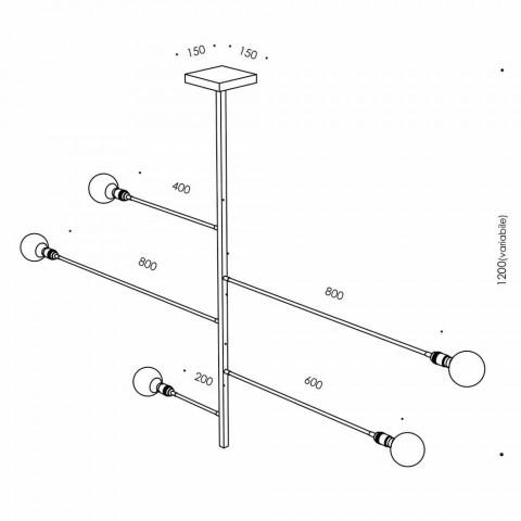 Artisanale design kroonluchter met ijzeren structuur Made in Italy - Tinna
